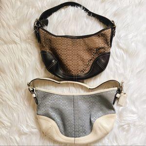 2 coach mini monogram bags purses